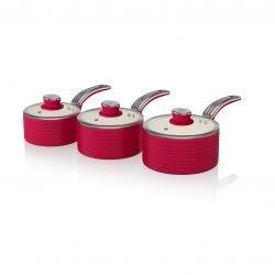 3 Pieces Saucepan Set RED SWPS3020RN