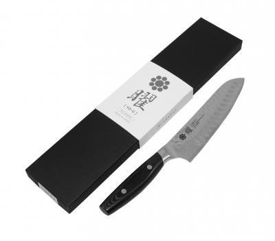 YAXELL YO-U 37 Damascus Hammered VG10 Dimple Santoku 180mm